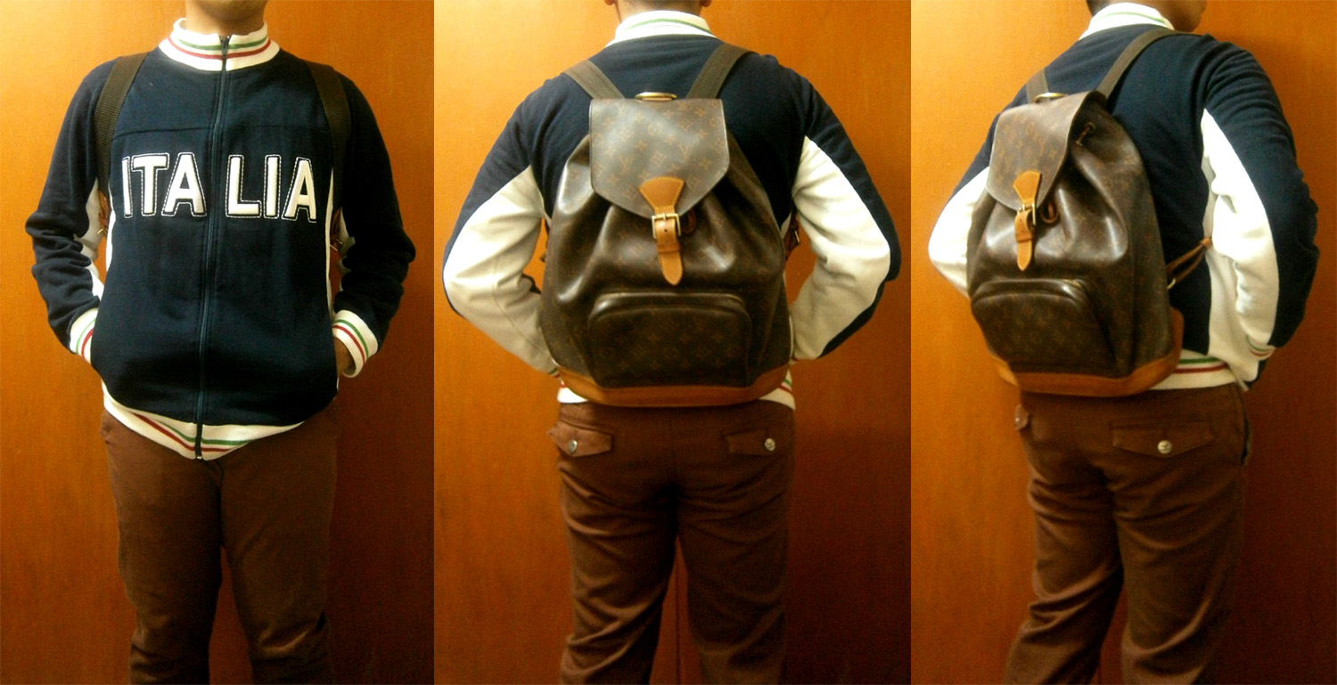 ITALIA Jacket, brick skinny pants, Louis Vuitton Monogram Montsouris GM backpack - Manila, Philippines