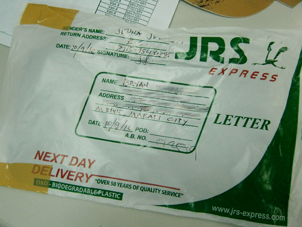 JRS Express Parcel - Letter Pouch, Manila, Philippines