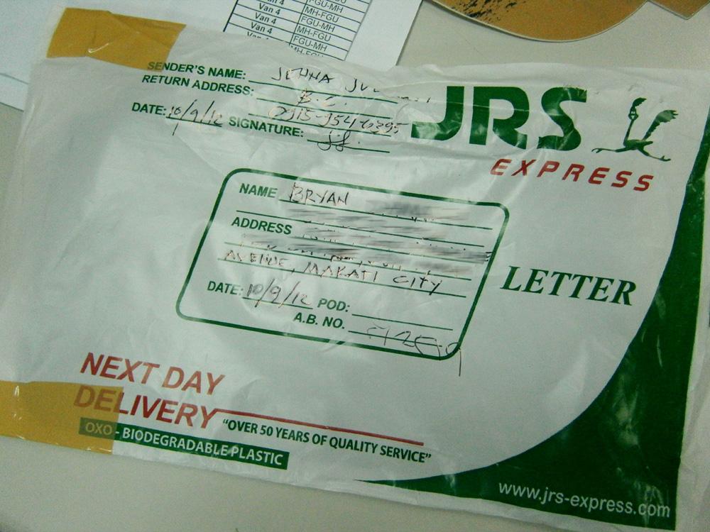JRS Express Parcel - Letter Pouch, Manila, Philippines