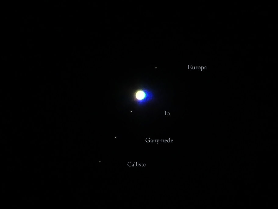Jupiter and the 4 Galilean Moons - 10232012 02h20 - Manila, Philippines