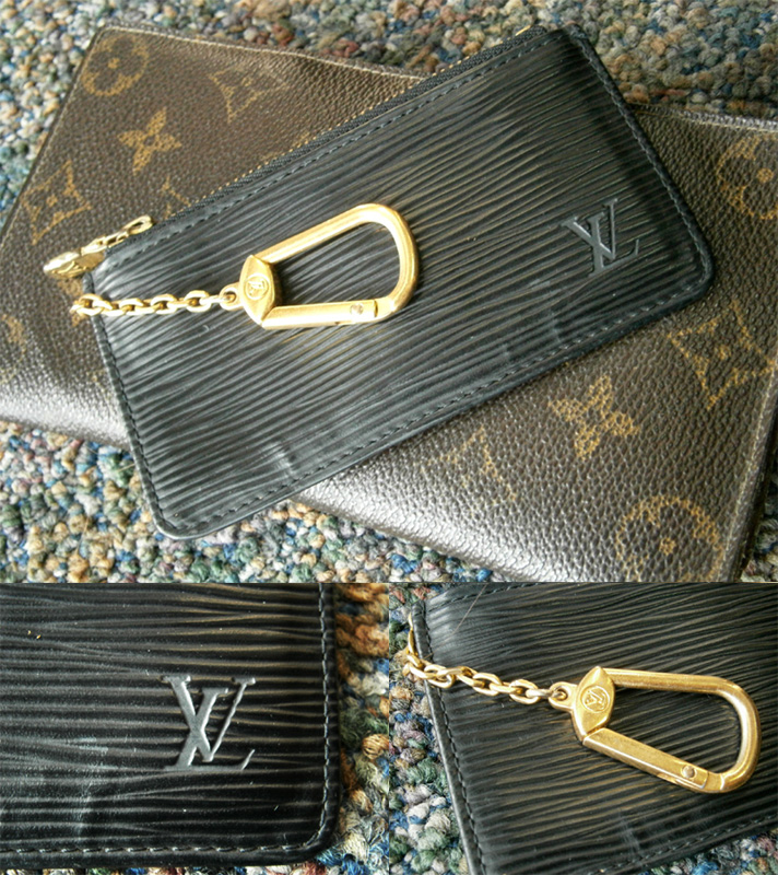 Louis Vuitton Black Epi Leather Key Pochette Cles details, key-ring, embossed LV initial and Monogram Wallet - Manila, Philippines