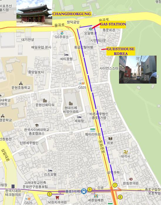 Map of Guesthouse Korea or Guesthouse in Korea in Jongno, Seoul, South Korea