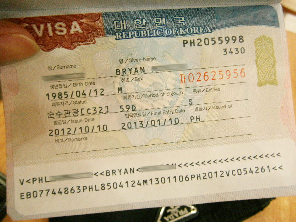 My Korean Tourist Visa for 2012 - South Korean Visa, Manila, Philippines