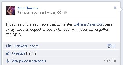 Nina Flowers's Facebook post concerning Sahara Davenport's death