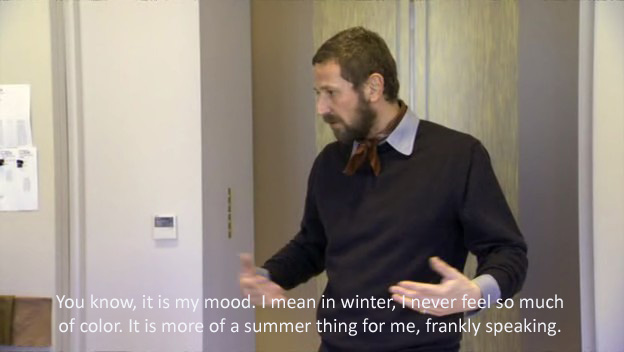 Stefano Pilati explaining the use of color from The September Issue