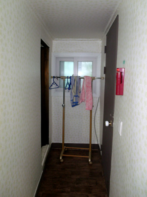 Twin Room Guesthouse in Korea - entrance (right) and bathroom door (left)