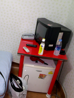 Twin Room Guesthouse in Korea - TV, mini-ref and dryer