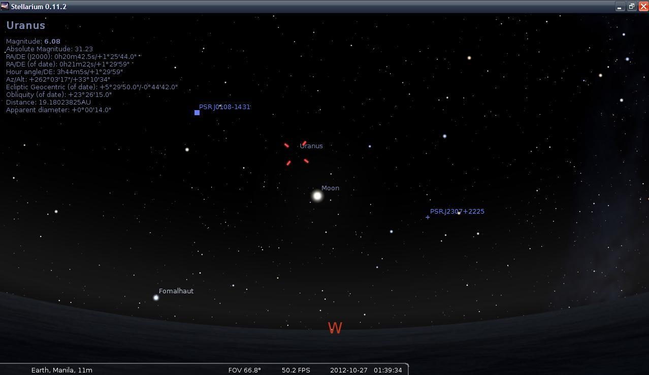 Uranus over the Moon - October 27, 2012 as seen on Stellarium