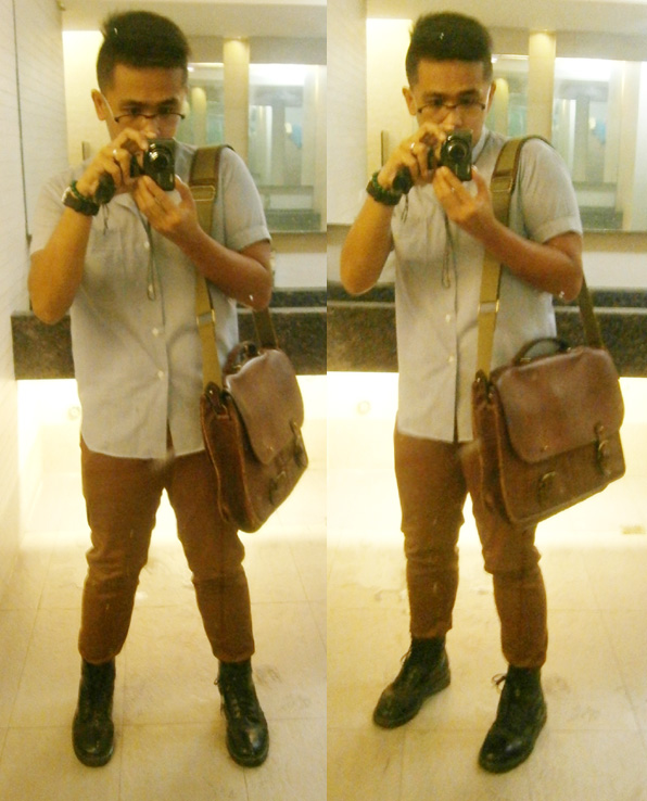 Blue chinese-collar polo, brick pants, 8-hole Doc Martens, Mulberry wexford messenger briefcase - Manila, Philippines