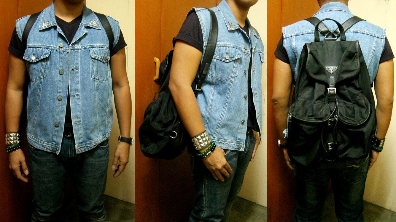 DIY studded denim vest, dark blue V-neck shirt, Jag jeans, Prada nylon and saffiano backpack, TechnoMarine watch, studded cuff and beaded bracelets - Manila, Philippines