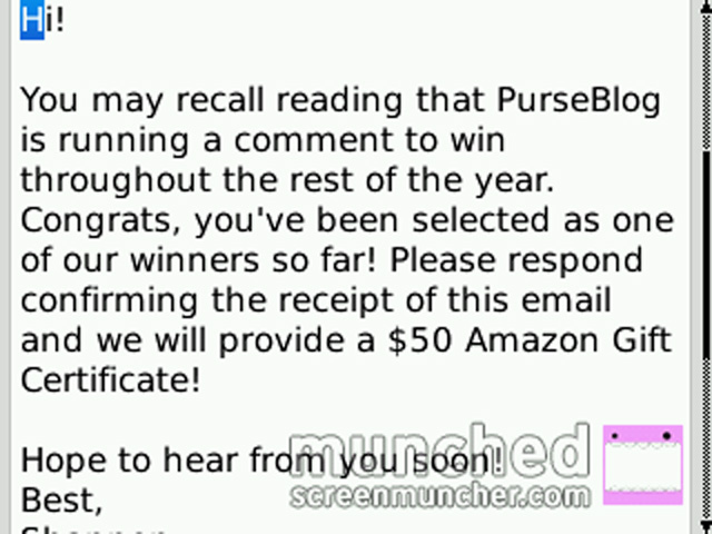 Email from PurseBlog