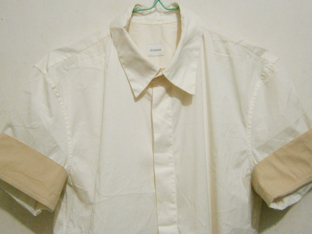 Jil Sander Button-down polo with contrasting cuff sleeves