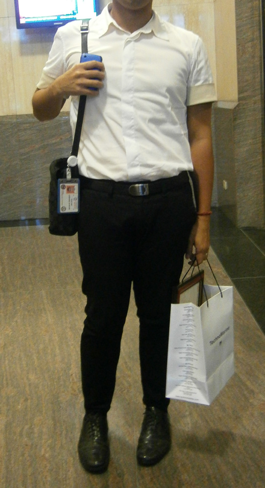 Jil Sander shirt with contrasting cuff sleeves, tailored skinny pants,  black Lanvin leather belt, Prada leather shoes and black Gucci sling bag - Manila, Philippines
