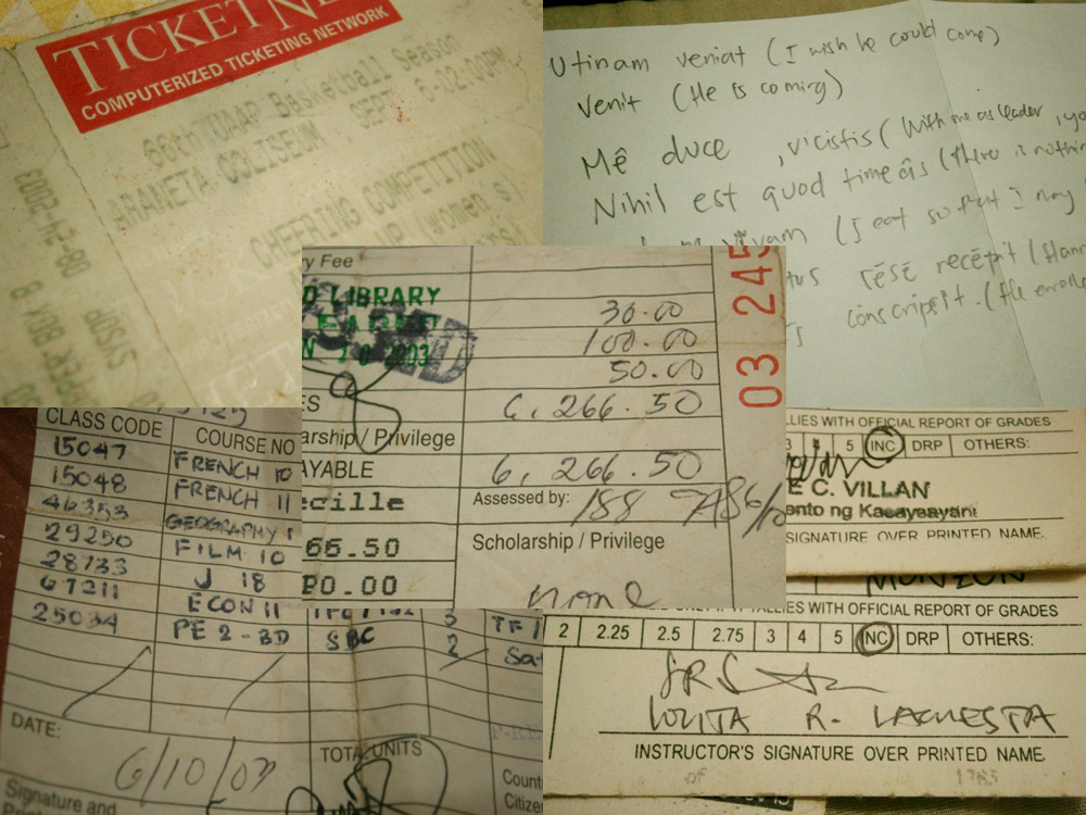 Nostalgia photos - ticket, notes, classcards and Form 5 - UP Diliman