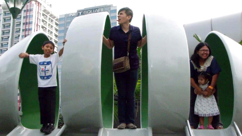 About to go down the slide - The Mind Museum at Taguig