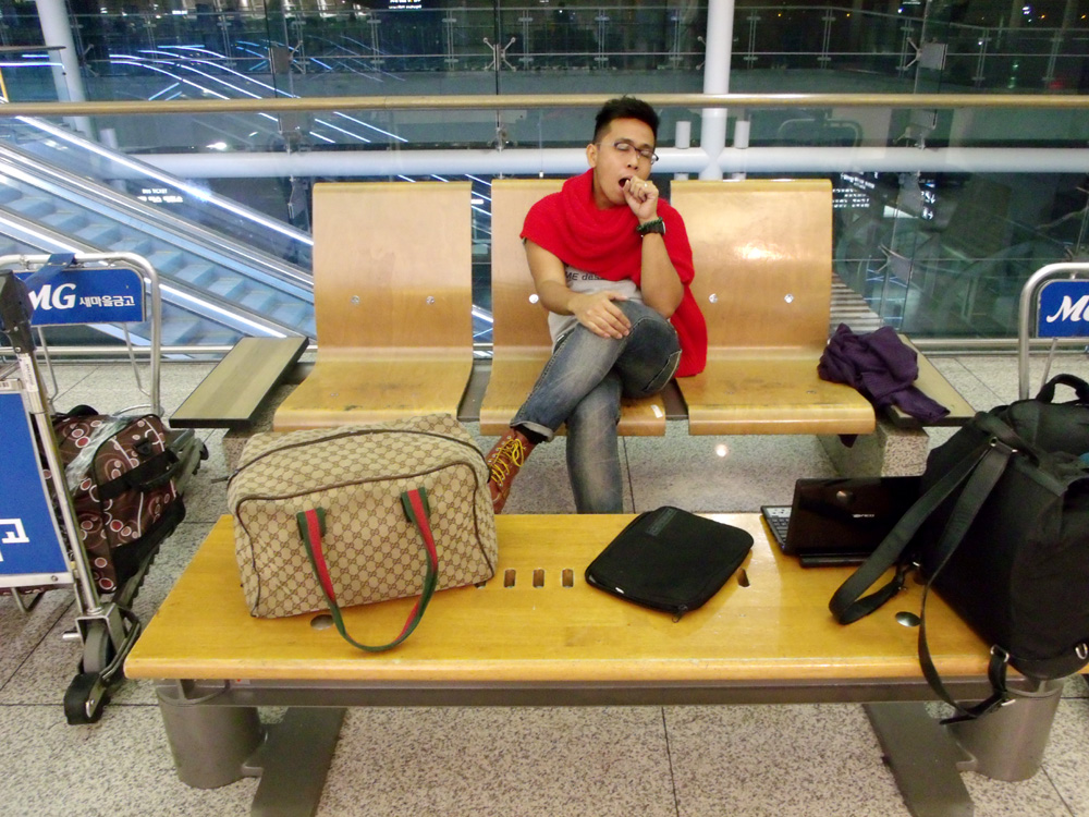 About to sleep in Incheon International Airport, South Korea --- yes I was just acting here LOL