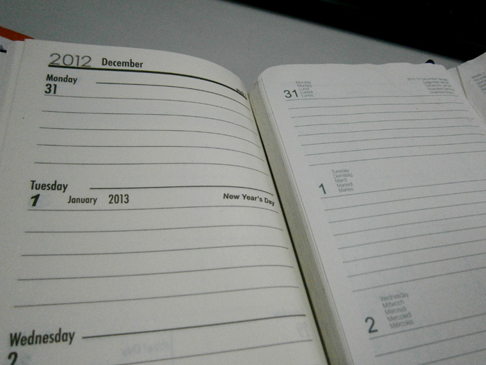 Comparing the 2013 and 2012 planner