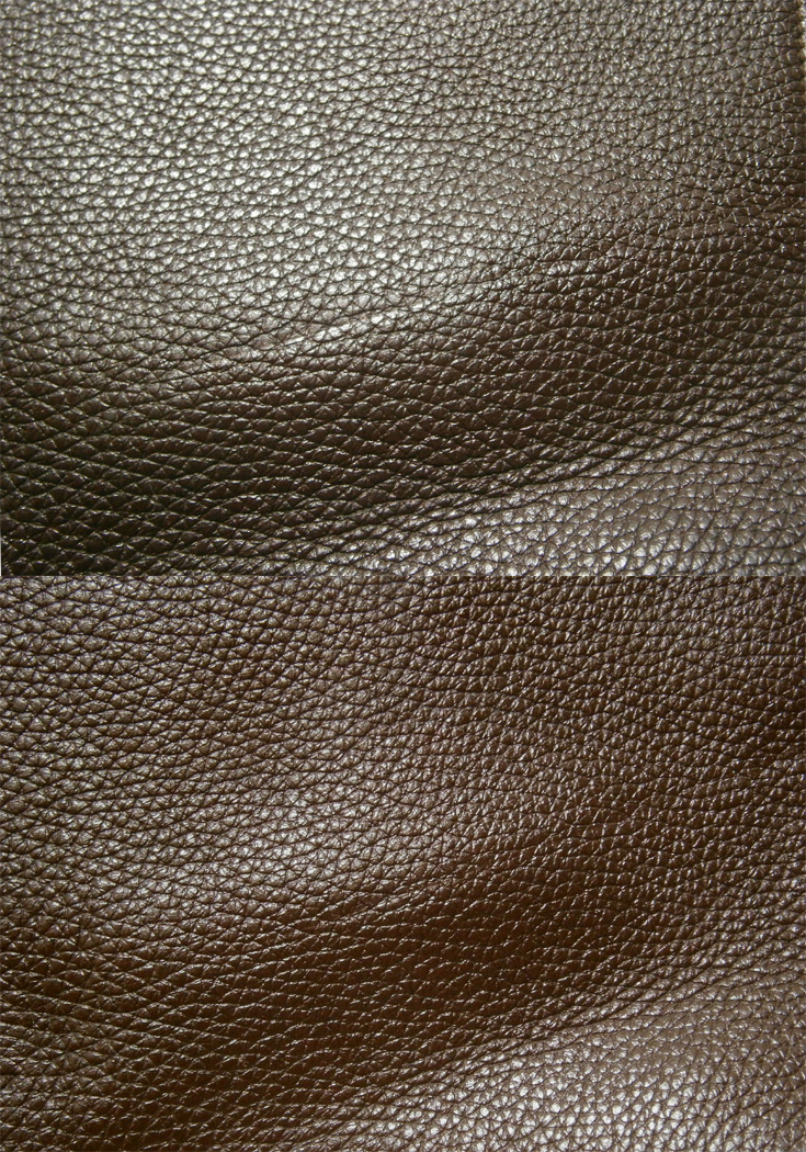 DIY repair of the dent in the leather closeup - before and after
