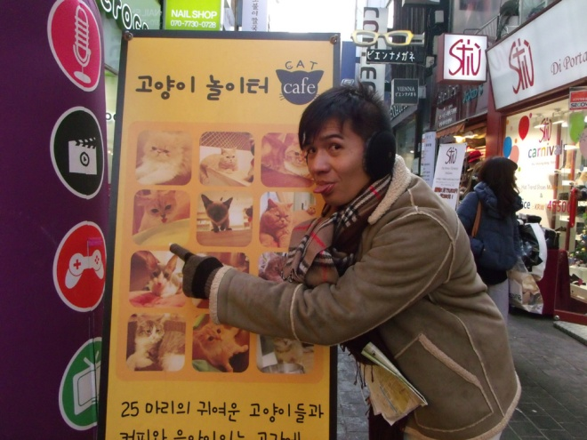 Earlier that day, Mon with Cat Café's tarp outside --- Myeongdong