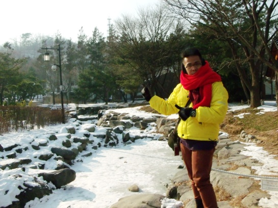 Frozen stream in Namsangol Hanok Village