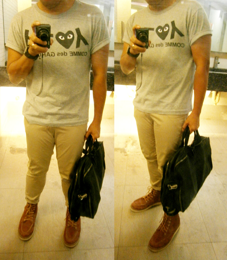 Gray Play by Comme des Garçons T-Shirt, skinny khaki pants, Red Wing 875 6-inch boots, Givenchy luggage duffle bag - Manila, Philippines