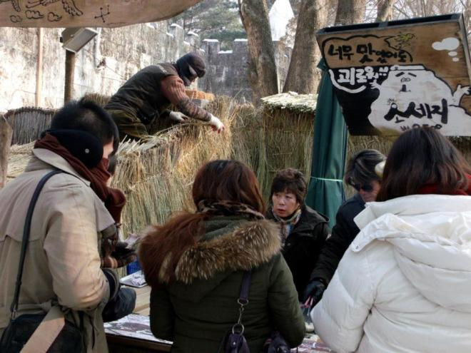 Grilled sausages in Nami Island --- Winter in Seoul December 2012 - Day 3: Nami Island