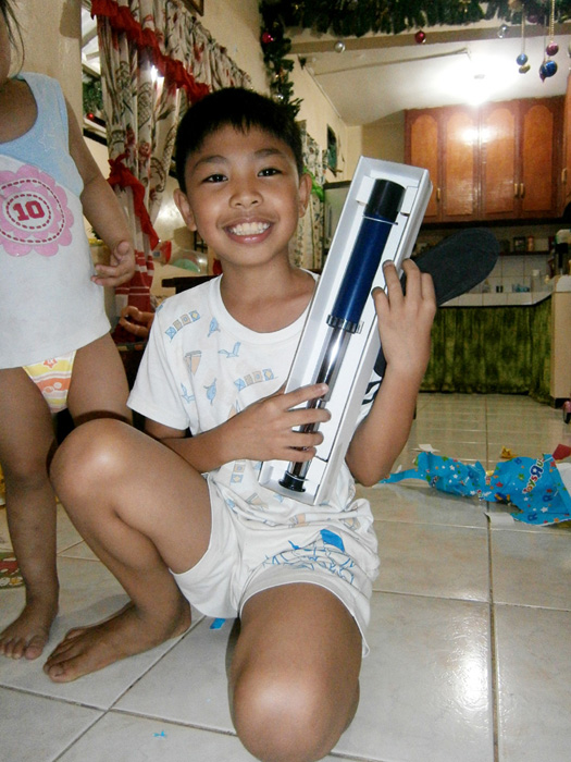 JB with his toy telescope