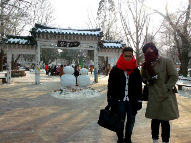 Mon and I finally arriving in Nami Island --- Winter in Seoul December 2012 - Day 3: Nami Island