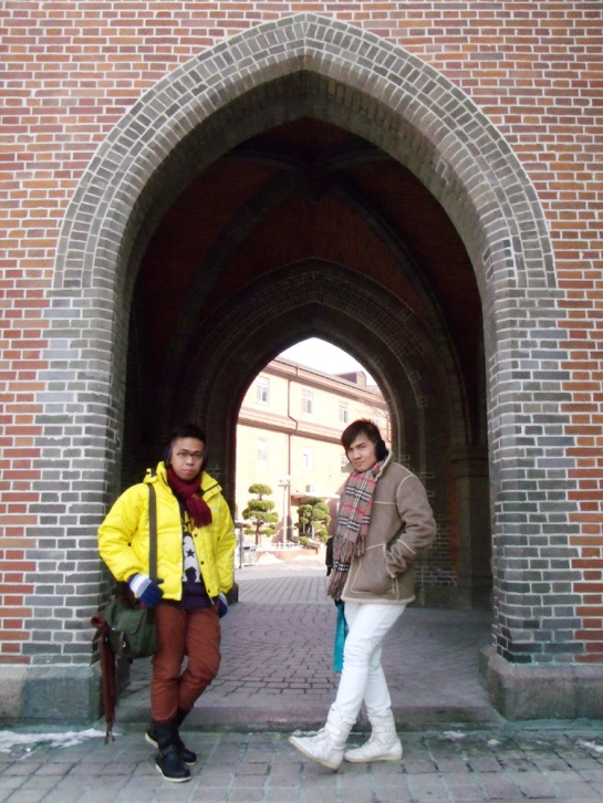 Mon and I outside Myeongdong Cathedral