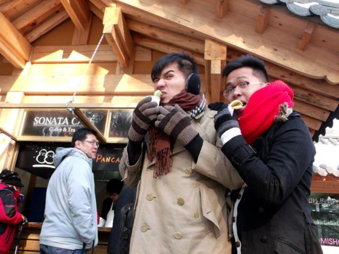 Mon and I trying out the Snowman Pancake --- Winter in Seoul December 2012 - Day 3: Nami Island