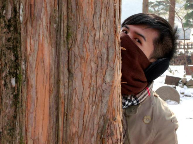 Mon 'playing' hide-and-seek --- Winter in Seoul December 2012 - Day 3: Nami Island