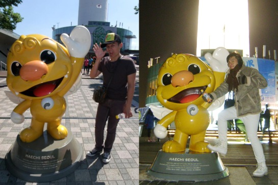 Mon with Haechi in N Seoul Tower - September 2011 and December 2012