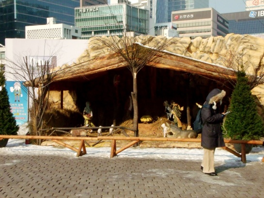 Nativity scene outside Myeongdong Cathedral