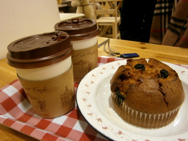 Our coffee and blueberry muffin --- Cat Café Myeongdong, Seoul