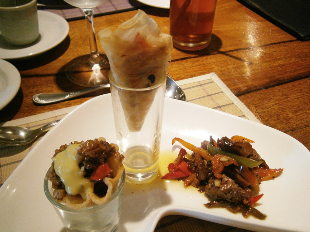 Pica-pica -Sisig Basket, Lumpia Cone and Wagyu Salpicao - Chef Laudico's Bistro Filipino