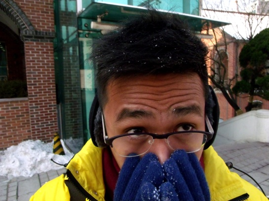 Snow on my hair and my gloves --- Myeongdong Cathedral