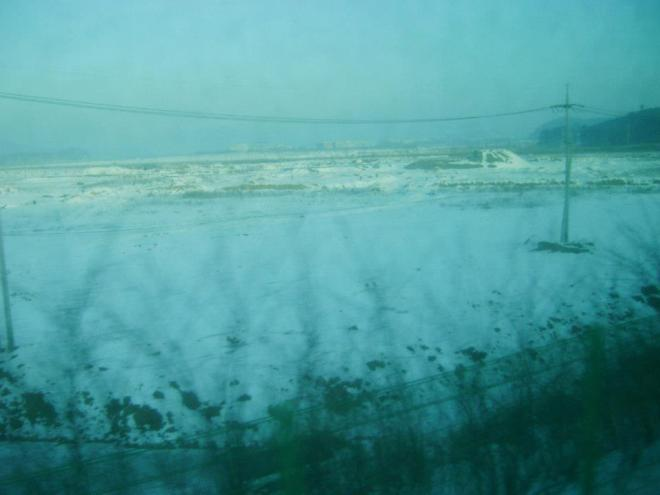 Snowy white Incheon from the Commuter Train