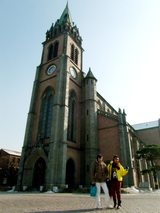 Standing outside Myeongdong Cathedral