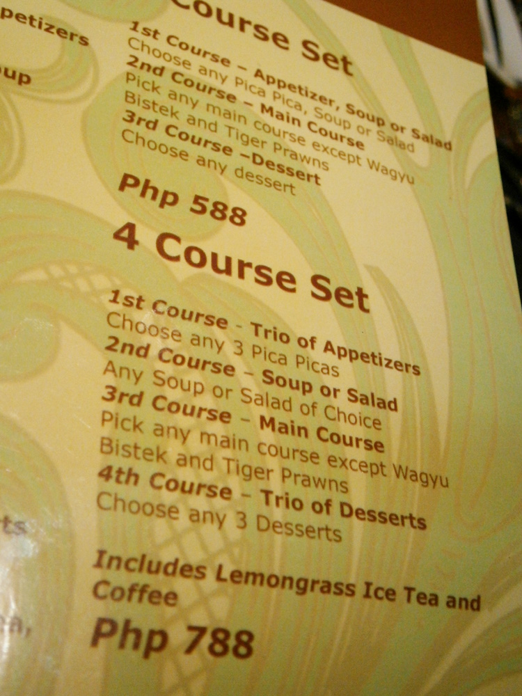 The 4-course set was actually very good and its price - Ched Laudico's Bistro Fiipino