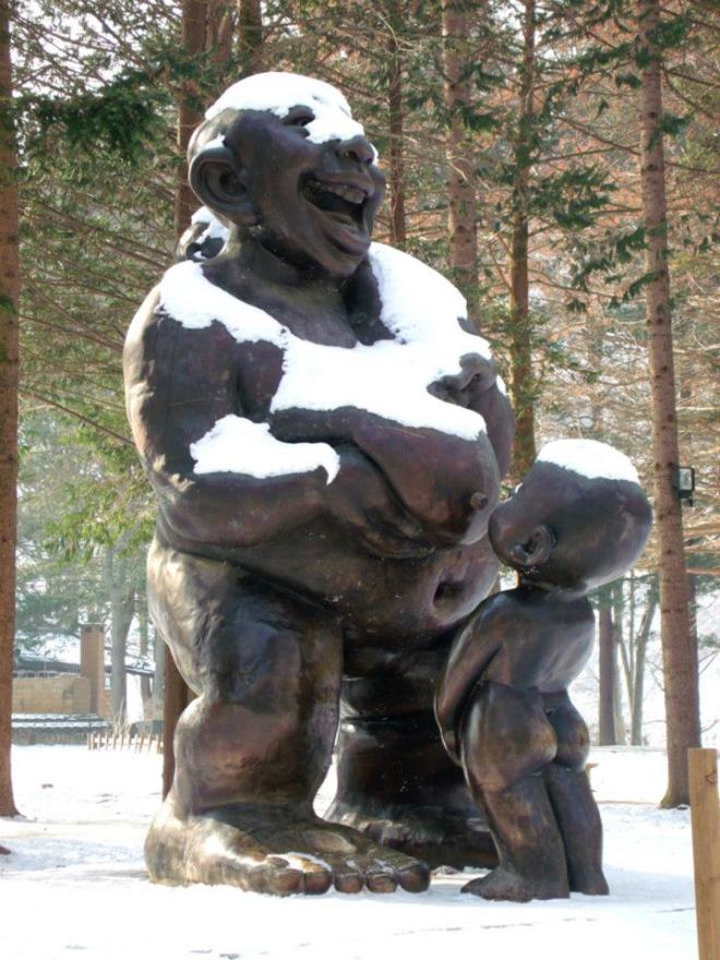 The hard-to-miss breastfeeding statue in Nami Island, covered in snow --- Winter in Seoul December 2012 - Day 3: Nami Island