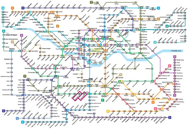 The most complete Seoul (and nearby areas) subway map we have used