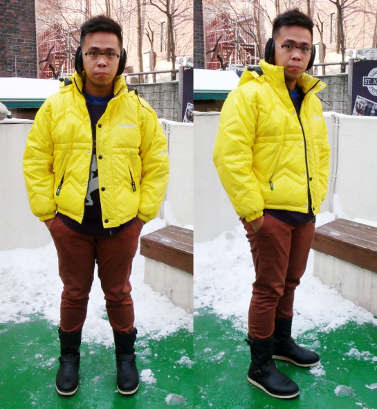 Timberland yellow puffer jacket, knitted Radic Color sweater, brick colored pants, black PathFinder boots