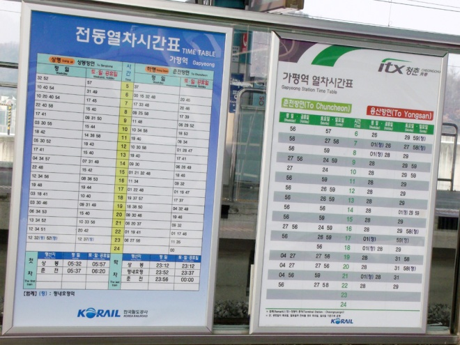 Time Table or Schedule of the train going from Gapyeong to Sangbong and Gapyeong to Yongsan ---- Winter in Seoul December 2012 - Day 3: Nami Island