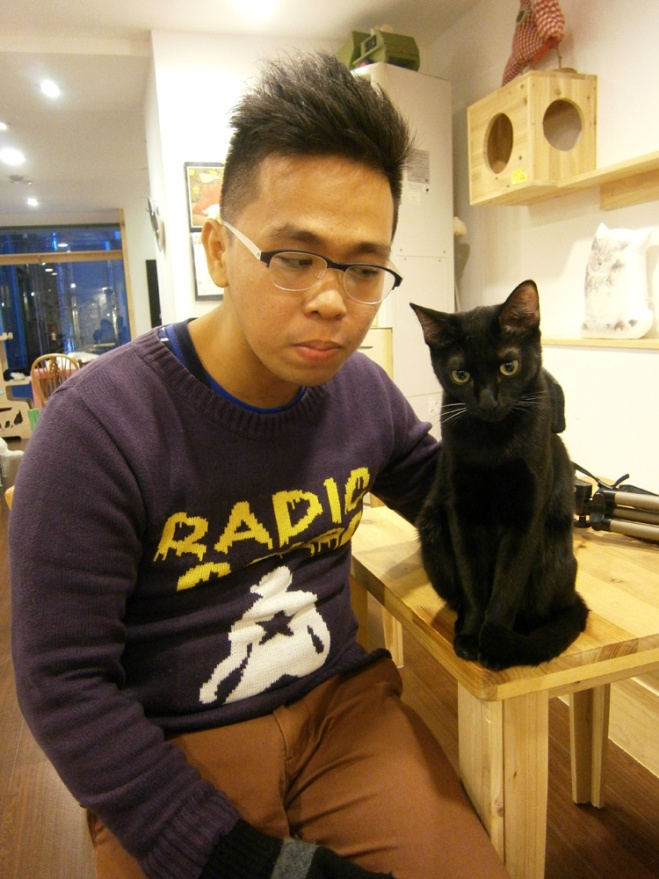 You should not pick favorites but I loved this black cat the most --- Cat Café Myeongdong, Seoul