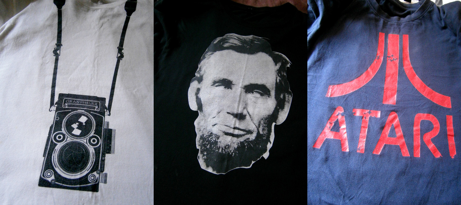 A bunch of shirts with interesting prints - old school camera from Graniph, cross-eyed Abraham Lincoln, and Atari logo