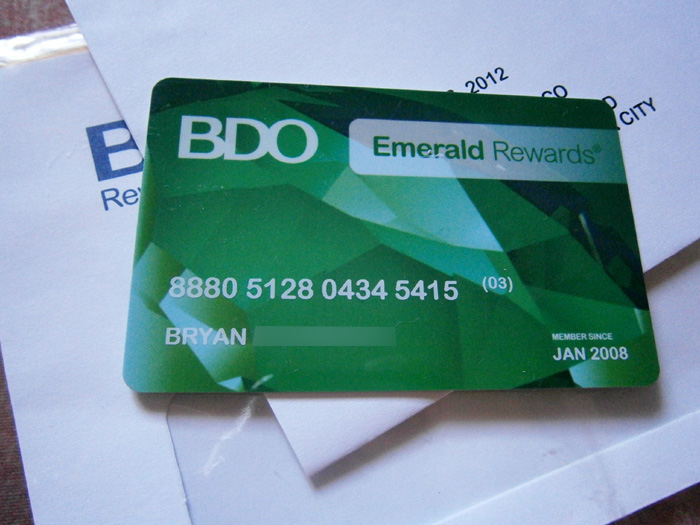 BDO's Emerald Rewards card, which can essentially function as an SM Advantage card