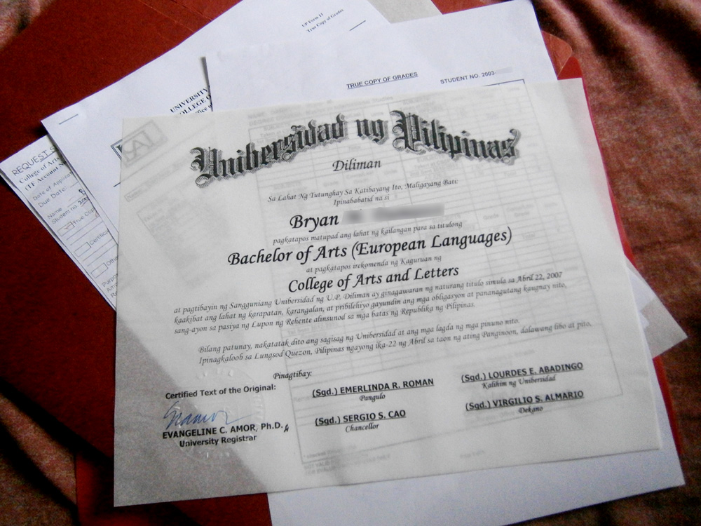 Certified True Copy of my undergraduate diploma from OUR