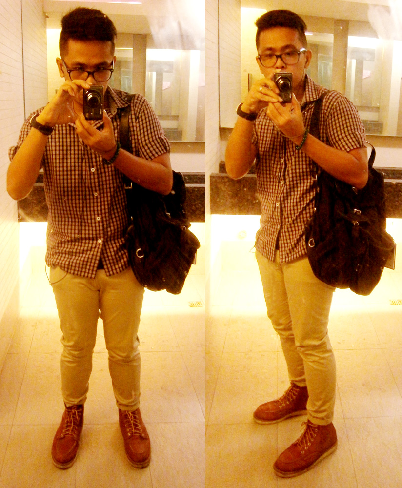 Checkered shortsleeves polo, skinny khaki pants, Red Wing 875 boots, Prada nylon and saffiano backpack - Manila, Philippines