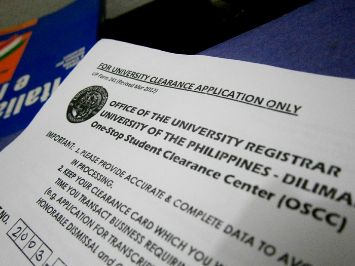 Clearance Form - OUR UP Diliman