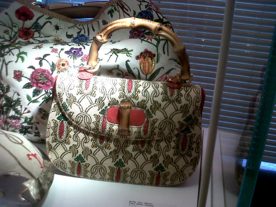 Gucci floral embellished hobo and printed canvas Bamboo Top Handle BTH - Simone Handbag Museum, Gangnam-gu, Seoul, South Korea